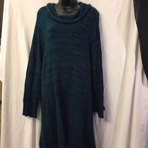 Style&Co Cowl-Neck Sweater Dress Size 3X Teal